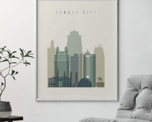 Kansas City print skyline earth tones 1 second