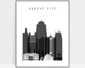 Kansas City skyline black and white art