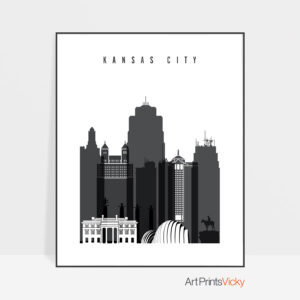 Kansas City skyline black and white art