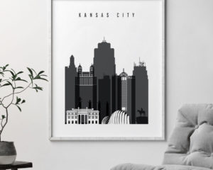 Kansas City skyline black and white art second