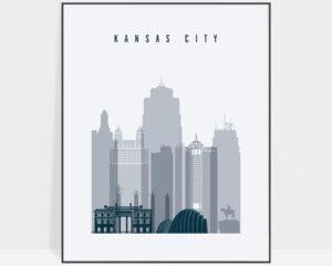 Kansas City skyline poster grey blue