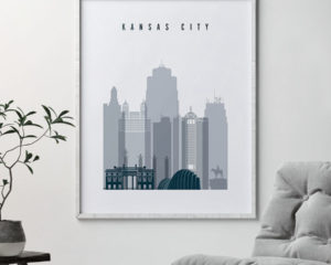 Kansas City skyline poster grey blue second