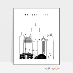 Kansas City black and white skyline print