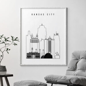 Kansas City black and white skyline print second