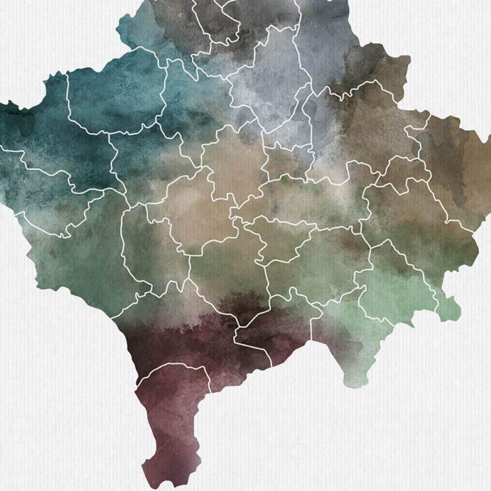 Kosovo map print detail