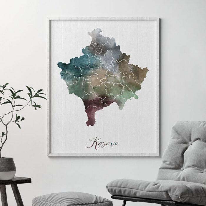 Kosovo map print second