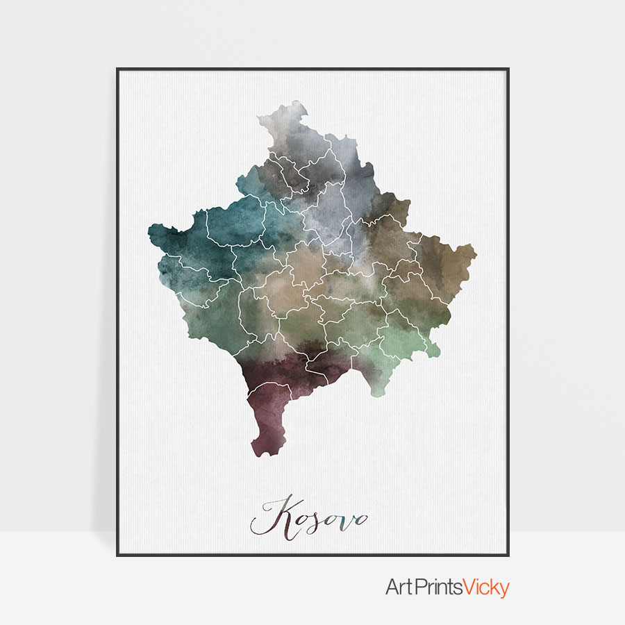 Kosovo Map art poster print wall decor Travel Map office home Gift