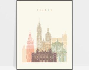 Krakow art print skyline pastel cream