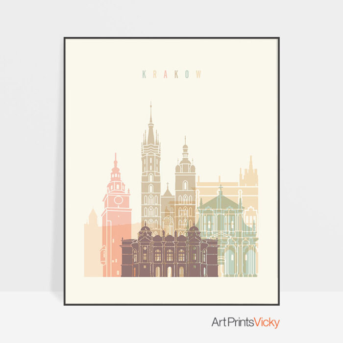 Krakow art print skyline pastel cream