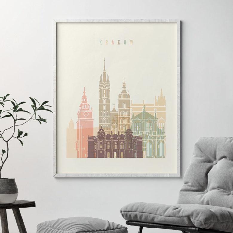 Krakow art print skyline pastel cream second