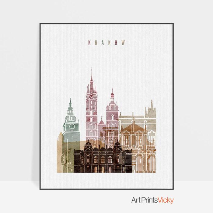 Krakow skyline poster watercolor 1