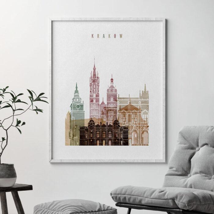 Krakow skyline poster watercolor 1 second