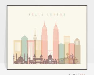 Kuala Lumpur poster skyline pastel cream landscape