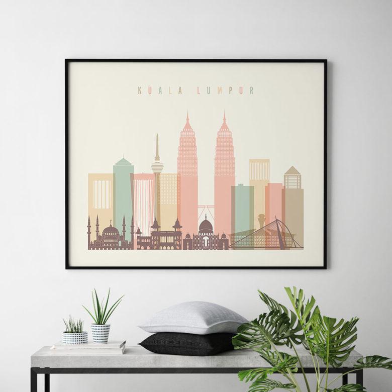 Kuala Lumpur poster skyline pastel cream landscape second