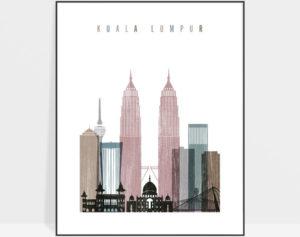 Kuala Lumpur skyline poster distressed 1