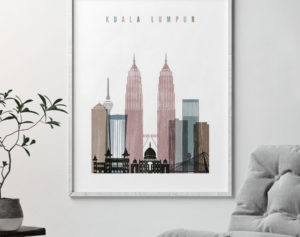 Kuala Lumpur skyline poster distressed 1 second