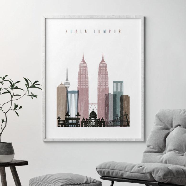 Kuala Lumpur skyline poster distressed 1 second