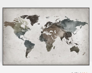 Large world map poster abstract detailed