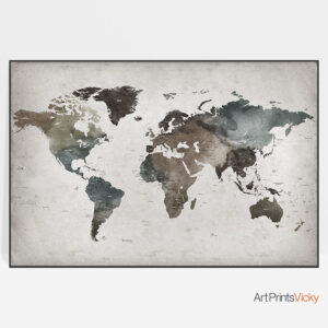 Large Abstract Detailed World Map Poster