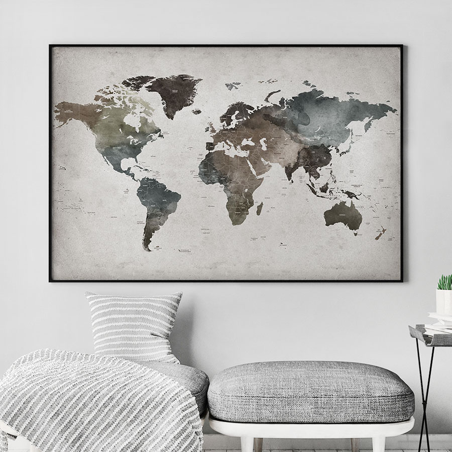 Large world map poster abstract detailed second
