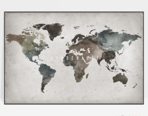 Large world map poster abstract wanderlust