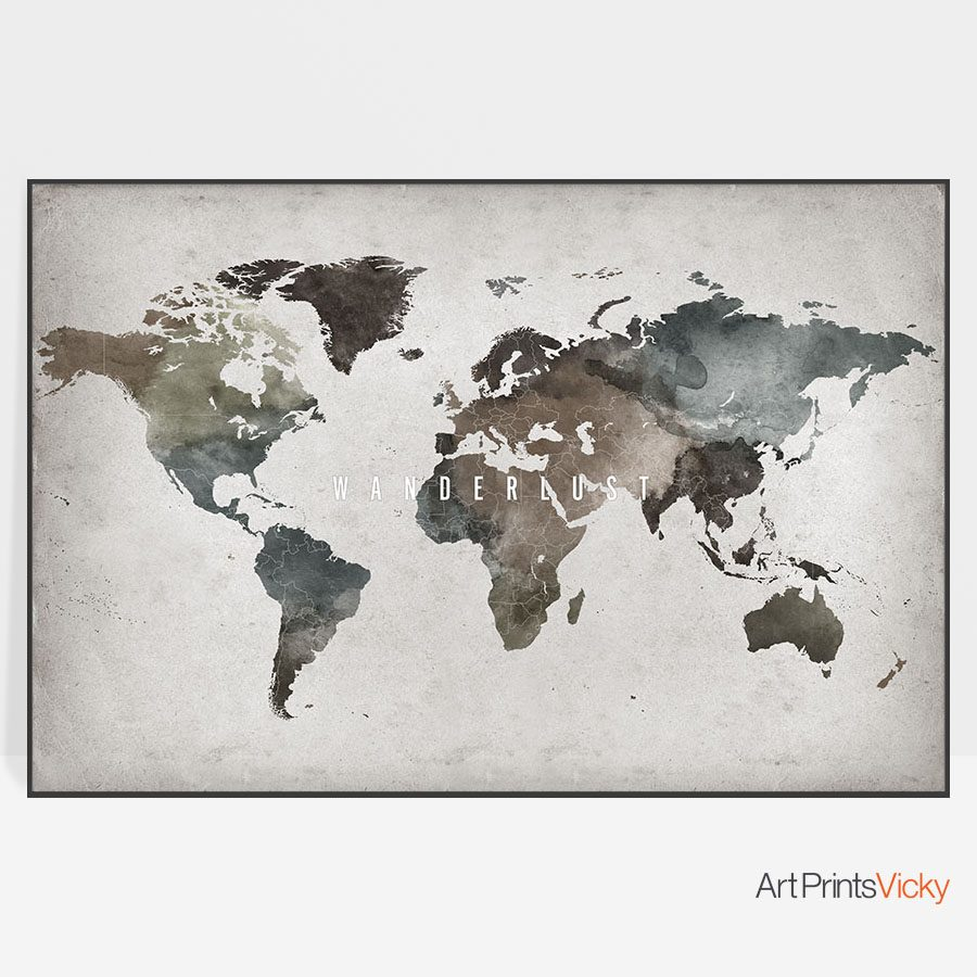 Large Abstract Wanderlust World Map Poster