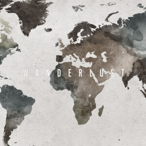 Large world map poster abstract wanderlust detail