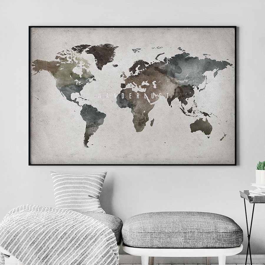 Large world map poster abstract wanderlust second