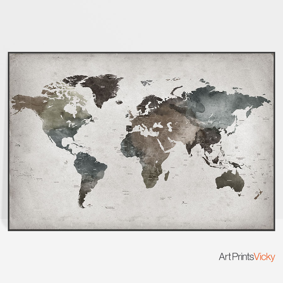 Large Abstract Detailed World Map Poster | Art Prints Vicky