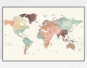 Large world map poster pastel cream detailed