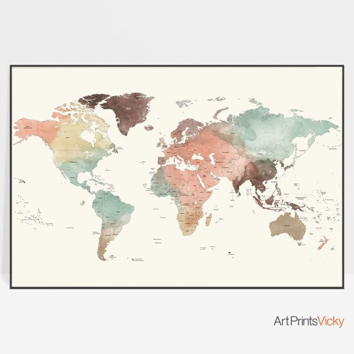 World Map Poster Detailed In Pastel Cream Watercolor