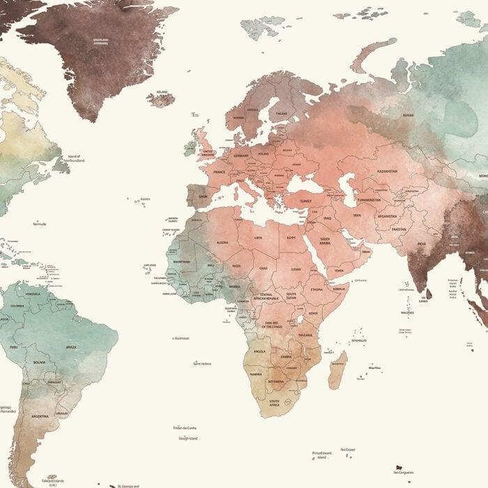 Large world map poster pastel cream detailed detail