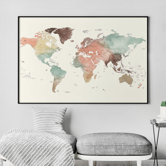 Large world map poster pastel cream detailed second
