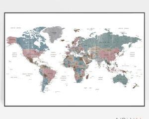 Large world map art distressed 1