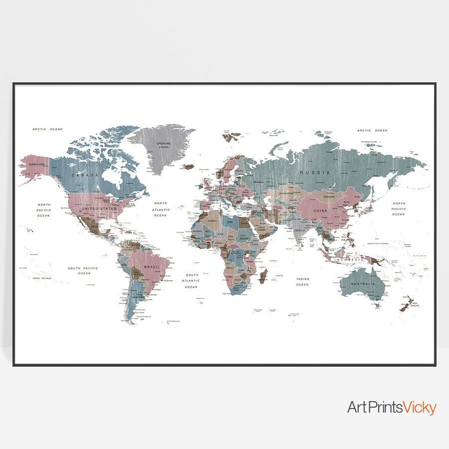 Large world map art distressed 1