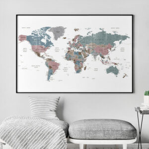 Large world map art distressed 1 second