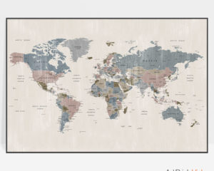 Map art poster abstract distressed 2