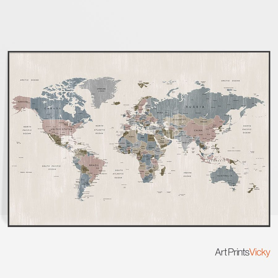 World Map Distressed 2 Poster