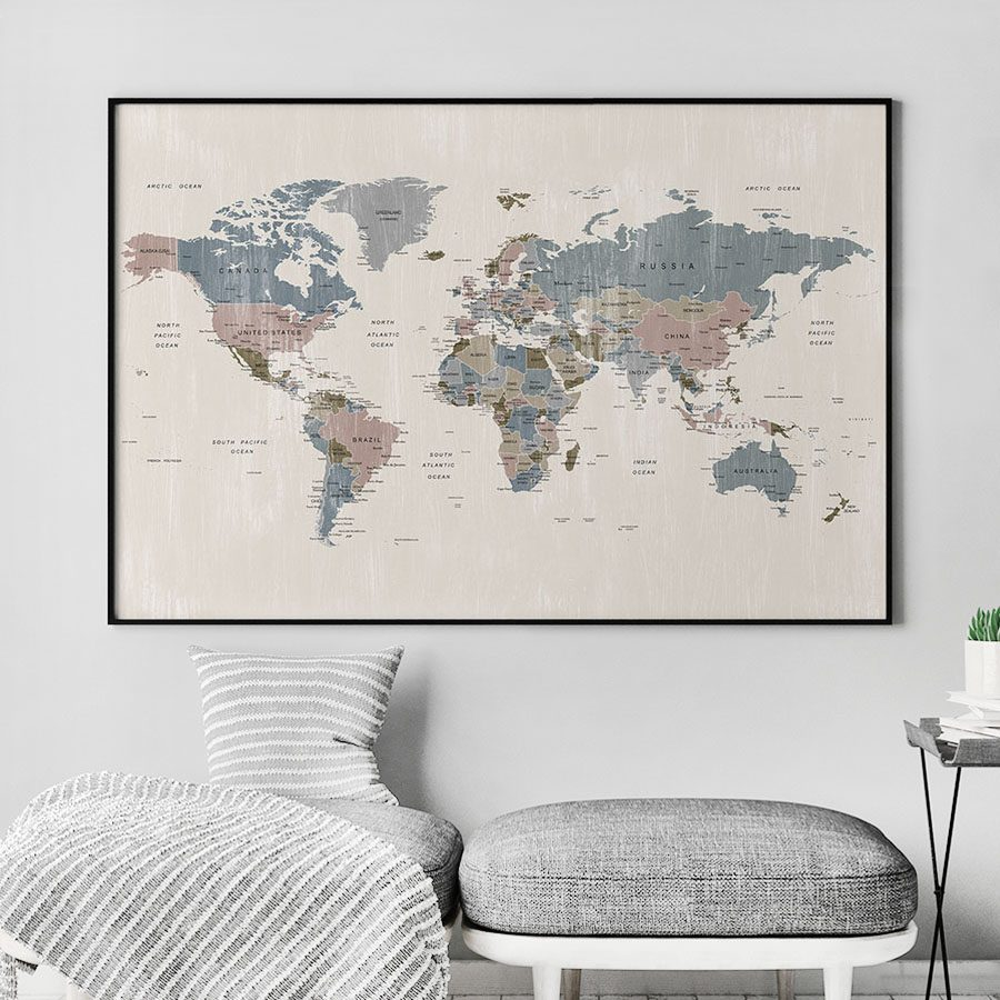 Map art poster abstract distressed 2 second