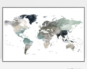 Large world map art print earth tones 4