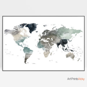 Large World Map Earth Tones 4 Poster