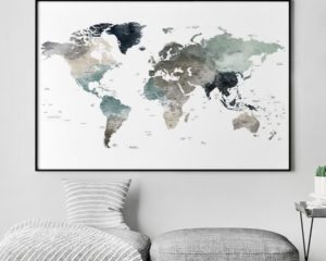 Large world map art print earth tones 4 second