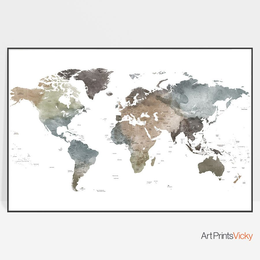 Large world map watercolor poster mute colors