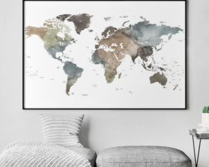 Large world map watercolor poster second