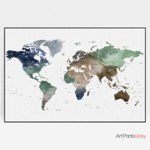 World Map Art Detailed Poster