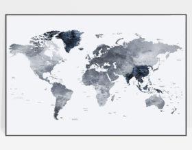 Large world map print grey blue