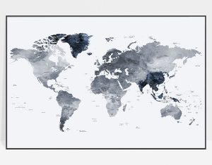 Large world map print grey blue