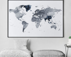 Large world map print grey blue second
