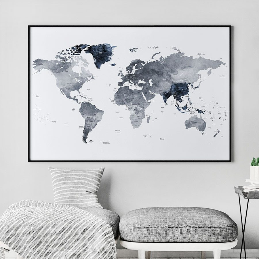 Large world map print grey blue second