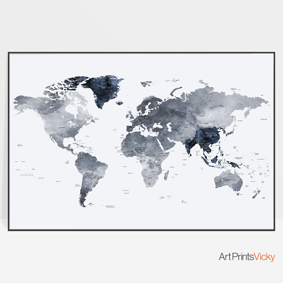 Perfect Large World Map Print Grey Blue